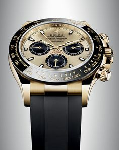 Rolex Cosmograph Daytona in 18ct gold with a monobloc Cerachrom bezel in black ceramic. The black bezel is reminiscent of the 1965 model that was fitted with a black Plexiglas bezel insert.