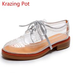 LOVEXSS Women s Transparent Brogue Shoes Genuine Leather Casual Flats 2017  Spring Sheepskin White Lace-Up Transparent Shoes 1e4694cc27fc