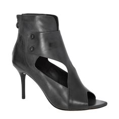 Wisp Leather Cut Out High Heeled Booties   Designer Heels Shoes - Max Studio