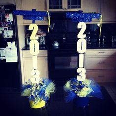 Graduation centerpieces made by Linda and Ashley! More