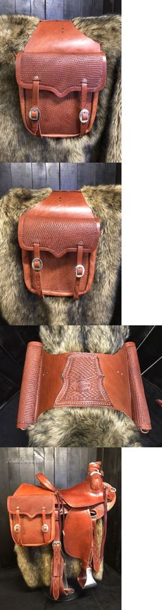 Saddle Bags 47300: Large Leather Saddle Bags With Basket Stamp - Saddle Horse Motorcycle -> BUY IT NOW ONLY: $119.99 on eBay!