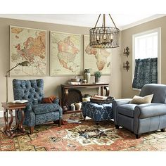 Find a wall map, cut in two and frame as 2 pieces in a minimalist frame and no mating.