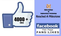 Alpha college of Engineering & Technology feels conceited and thankful to all those who made the www.facebook.com/alphacet page reach a milestone of 4000 likes.Alpha college of Engineering & Technology feels conceited and thankful to all those who made the www.facebook.com/alphacet page reach a milestone of 4000 likes.