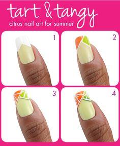Tart & Tangy citrus #nail art for summer, using FingerPaints Striping Polish!