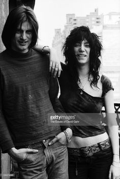 Playwright Sam Shepard and singer and poet Patti Smith pose for a portrait at the Hotel Chelsea on May 7, 1971 in New York City, New York.