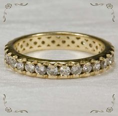 On Ruby Lane - Gorgeous Vintage Diamond Eternity 14k Gold Wedding Band Ring