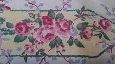Mid Century Tablecloth  Pink ROSES Cottage by WhyteWing on Etsy