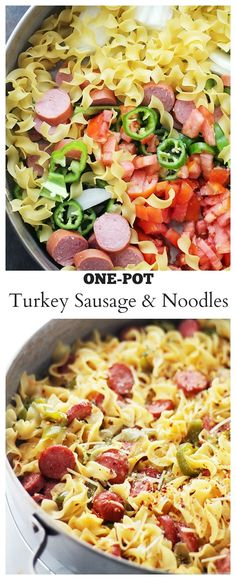Quick and easy, one-pot dinner with egg noodles, turkey sausage and fresh vegetables.