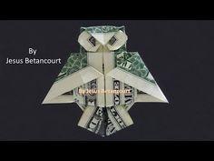 """Origami Dollar Bill Owl """" TUTORIAL """" - YouTube Easy Money Origami, Money Origami Tutorial, Paper Crafts Origami, Oragami Money, Origami Books, Dollar Oragami, Easy Dollar Bill Origami, Origami Instructions Step By Step, Origami Easy Step By Step"""