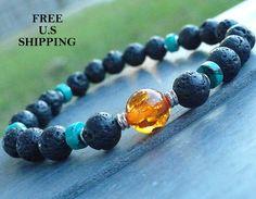 Grounding Men's Genuine Turquoise Lava beads with Amber Guru bead, Meditation bracelet mala, Healing bracelet, wrist mala-turquoise bracelet by LifeForceEnergy on Etsy https://www.etsy.com/listing/130558522/grounding-mens-genuine-turquoise-lava
