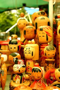 "Japanese Kokeshi Dolls - as they used to look in the earlier days. (cylindrical body). Today the are a looking a lot more ""kawaii"". I prefer the old ones..."