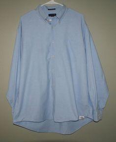 Lands End original oxford blue dress shirt mens size 17.5-35 #LandsEnd