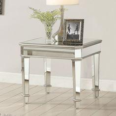 Coaster Contemporary Square Silver Mirrored End Table