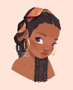 Cartoon Art Styles, Cartoon Drawings, Cute Drawings, Pencil Drawings, Black Girl Cartoon, Black Girl Art, Girl Drawing Sketches, Sketch Painting, Drawing Tips
