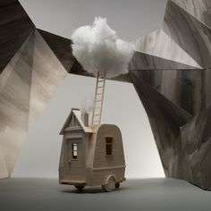New Miniature Mobile Homes Created From Balsa Wood by Vera van Wolferen (Colossal) Mobiles, Balsa Wood Models, Architectural Sculpture, Colossal Art, Rv For Sale, Dutch Artists, Glass Domes, Stop Motion, Model Homes