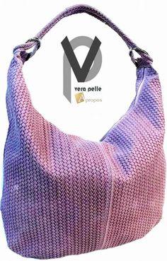 Vera Pelle Beuteltasche 3cm Leder Handtasche Geflochten Rosa Trageriemen Apropos