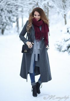Layers of grey with a pop of burgundy