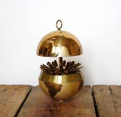 Vintage Brass Globe Cigarette Dispenser 1950's... Mad Men