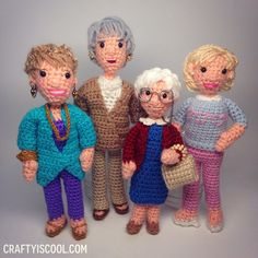 Crochet Golden Girls Amigurumi Pattern I can't get over these amazing crochet Golden Girls Amigurumi Dolls! If you're a child of the you know all about these fun and crazy ladies, and their hit TV show, Golden Girls. Crochet Patterns Amigurumi, Amigurumi Doll, Crochet Dolls, Knit Crochet, Knitting Patterns, Golden Girls, Golden Age, Stuffed Toys Patterns, Crochet Animals
