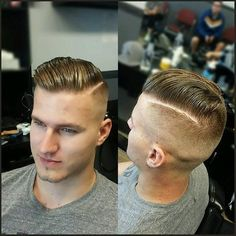 Slick, Shiny, Blonde, Hard-Part Fade- Nice!