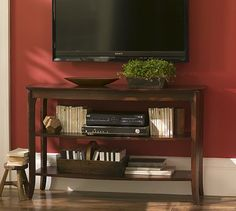 Beautiful Mounted Tv And Organization Of Console. Basic Little Table Under ...