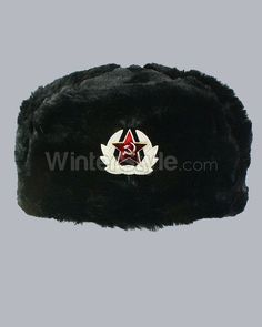 Black Faux Fur Russian Winter Hat with Badge