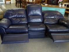 Blue Faux Leather 3 Seater Reclining Sofa, Local Delivery Service Available, H97cm, W224cm, D87cm £45 (PC397) 5000 sq ft Showroom OPEN Mon - Sat 10am - 7pm & Sundays 12 - 4pm