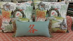 Love these toile pillows.