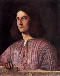 Giorgione, born Giorgio Barbarelli da Castelfranco; (Italian c. 1477–1510) [High Renaissance] Portrait of a Young Man (Giustiniani Portrait), 1504. Oil on canvas, 58 x 46 cm. Staatliche Museen zu Berlin, Gemäldegalerie, Berlin.