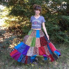 Las mujeres falda larga telas India hecha a mano Patchwork Telas Indias 4ce0f8460867