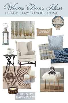 For a twist on the typical winter decor, icy grey blue can be both cool and cozy. These 36 winter decorating ideas will make your home warm and welcoming. French Country Interiors, Country Interior Design, French Farmhouse Decor, French Home Decor, French Country Decorating, Farmhouse Style, Funky Home Decor, Winter Home Decor, Diy Home Decor