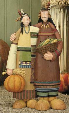Indian Couple Figurine – Harvest Folk Art Figurines & Thanksgiving Collectibles – Williraye Studio $37.50
