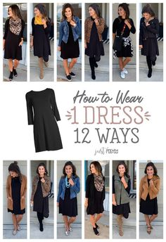 How to Wear 1 Black Dress 12 different Ways! A black dress is perfect for a capsule wardrobe; it's easy to dress up or down and it can be styled for any occasion. Mode Outfits, Fall Outfits, Casual Outfits, Fashion Outfits, Fashion Skirts, Dress Casual, Casual Wear, Fashion Ideas, Fashion Tips