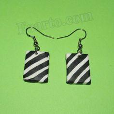Black and white earrings - Zebra earrings Length - 38 mm Black And White Earrings, White Zebra, Polymer Clay Earrings, Earrings Handmade, Drop Earrings, Color, Jewelry, Jewlery, Jewerly