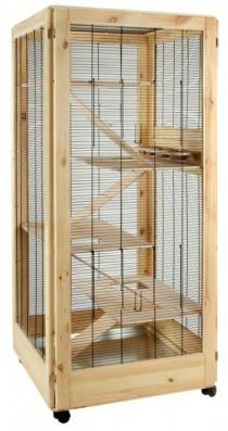 Schicke Nagervoliere Lo Zingaro aus Kiefernholz mit schwenkbarer Futtertheke. Geräumiges Zuhause für Streifenhörnchen, Degus, Ratten, Chinchilla und anderen Nager.