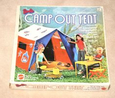 Barbie Camp Out Tent 1972 Sleeping Bags, Stools, Pots in Original Box Vintage