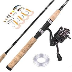 """PLUSINNO Spinning Rod and Reel Combos FULL KIT Graphite Blanks Rod Pole (2 Piece) with Reel Line Lures Hooks and Accessories Fishing Gear Organizer 7'0"""" Medium (70M2)Organizer 7'0"""" Medium  http://fishingrodsreelsandgear.com/product/plusinno-spinning-rod-and-reel-combos-full-kit-graphite-blanks-rod-pole-2-piece-with-reel-line-lures-hooks-and-accessories-fishing-gear-organizer-70-medium-70m2organizer-7/  Fathers Day Gift, Gift for Daddy Papa. Warm Prompt: we provide 2 k"""