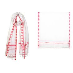 006-018-ST - CABO TASSEL SCARF CORAL  100% HANDWOVEN COTTON