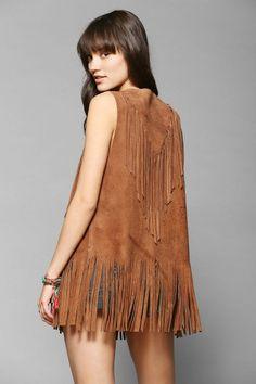 American Vintage Suede Fringe Vest #urbanoutfitters