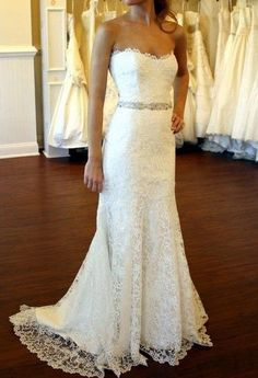 Cheap Lace Wedding Dress, Lace Bridal Gown,Sweetheart-neck Wedding Gown on Etsy, $278.99 Staci/ love this!!