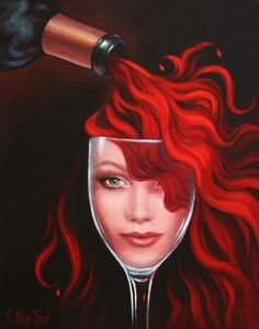 Ripe and sassy, this elegant red is firm and sinewy, yet balanced; shows fine length and freshness, lingering easily and persisting on the lively finish. A sensual red wine pour spills over a wine goblet like hair tresses, enveloping a beautiful woman's face inside the goblet.  #winediva #wine prints at http://sandi-whetzel.artistwebsites.com/
