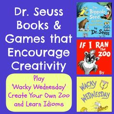 Fun ideas for Wacky Wednesday, a Create Your Own Zoo game, and more Dr Seuss activities for kids!