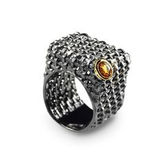 The online boutique of creative jewellery G.Kabirski | 100874 К Sterling silver, sapphire, ruthenium gold