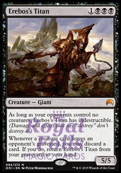 **1x FOIL Erebos's Titan** ORI MTG Magic Origins Mythic MINT black