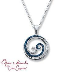 Artistry Diamonds Diamond Cross Necklace 1/6 ct tw Blue/White Sterling Silver BNB6dP7