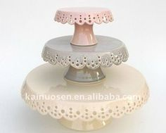 Ceramic Lace Cake Plate Set Of 3 In Soft Colors - Buy Ceramic Cake Plate,Ceramic Pasta Plate Set,Plates Dishes Sets Product on Alibaba.com