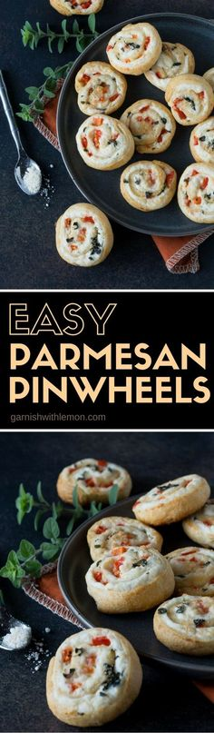 Don't let the short ingredient list fool you, these Easy Parmesan Pinwheels are packed with flavor. They come together in a flash and are a great addition to any party menu. #pinwheels #partyfood #appetizers