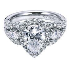 Pear halo diamond engagement ring. White gold. Gabriel ER5785W44JJ #seneedhamjewelers #loganutah