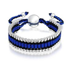 Bling Jewelry Silver Plated Linked Bar Blue Black Adjustable... ($13) ❤ liked on Polyvore featuring jewelry, bracelets, blue, braided bracelet, black bangles, woven bracelet, friendship bracelet and blue bead bracelet
