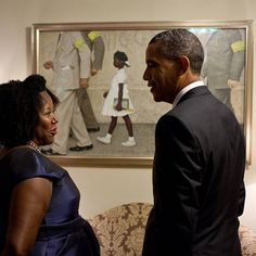 """""""One of the most poignant days of 2011 was when Ruby Bridges visited the White House. Ruby is the girl portrayed in Norman Rockwell's famous painting, """"The Problem We All Live With,"""" which depicts Ruby as she is escorted to school on the court-ordered first day of integrated schools in New Orleans in 1960."""" The President invited Ruby to view the painting while it was briefly on loan and displayed outside the Oval Office. On International Women's Day here is one of so many heroic women."""